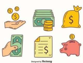 手绘收入元素矢量