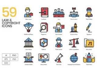 59知识产权法相关的图标,法律和版权图标
