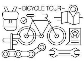 线性自行车图标