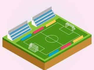 橄榄球和足球运动场等轴测图