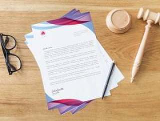 Letterhead mockup with law concept