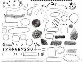 格利手写的铅笔装饰框架集合集合