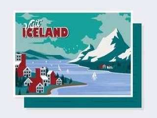 冰岛明信片矢量