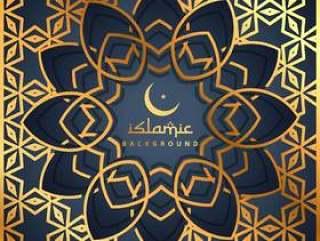 与伊斯兰形状的金色图案背景