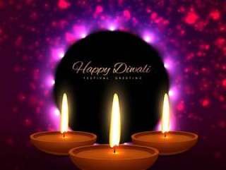 美丽的屠妖节快乐印度节日贺卡设计矢量