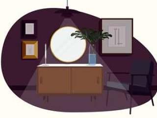 矢量抽象房间插图