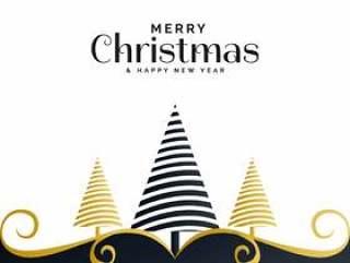与树和fl的创造性的圣诞节节日问候背景