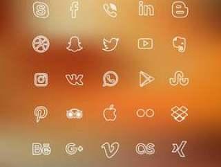 内衬的社交媒体图标