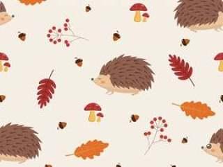 与叶子和猬的无缝的秋天样式。