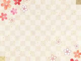 樱花粉彩_格子_日本纸_竖式1643