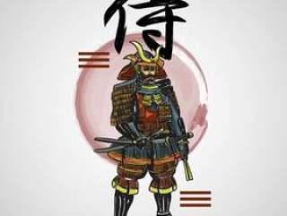 有抽象元素传染媒介例证的日本信件武士