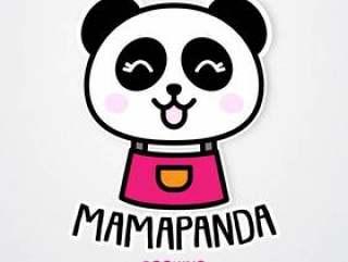 逗人喜爱和滑稽的妈妈熊猫贴纸模板