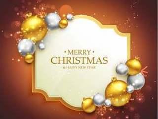 与christma的典雅的圣诞快乐节日问候模板