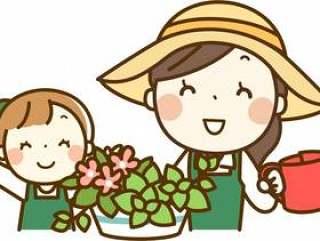 父母和孩子从事园艺