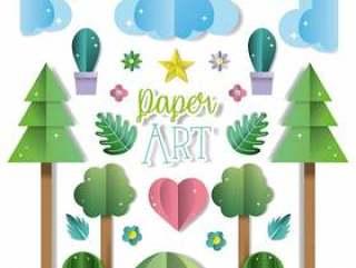 Paper art landscape
