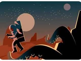 宇航员和一个怪物在火星矢量