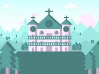 修道院景观图矢量#3
