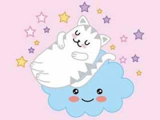 睡觉在与星动画片的云彩的Kawaii逗人喜爱的猫