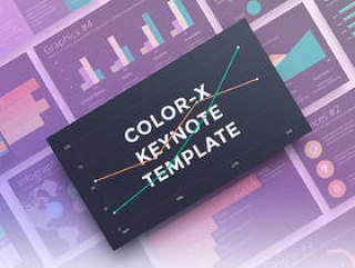 40+清洁优雅的商业相关幻灯片模板,Color-X Keynote模板