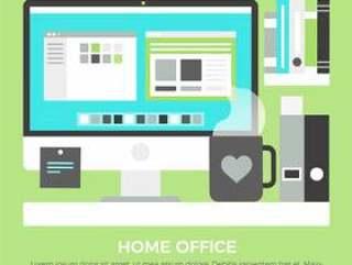平面设计矢量家庭办公室元素