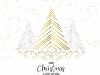 与白色ba的花卉装饰的优质圣诞树设计