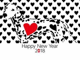 新年卡片在2018年黑色和白色达尔马提亚心脏