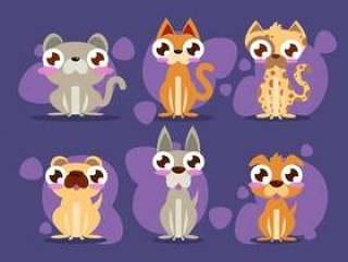 小狗和小猫平插图包矢量
