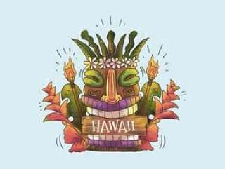用叶子和热带花卉夏威夷水彩夏威夷面具图腾微笑