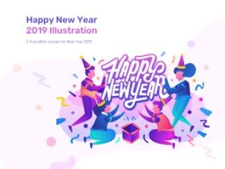 5场景新年2019年插图内置2种颜色版本,新年2019年插图
