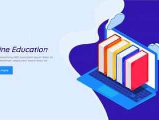 在线教育概念为基础的响应式登陆页面。