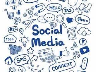 社会媒体手拉的乱画背景传染媒介