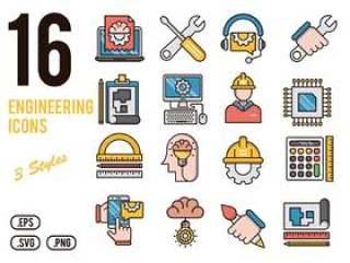 16工程矢量图标设置为移动,web,演示文稿和打印项目。,16工程图标