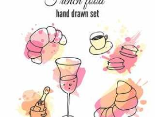 法国食物插图。矢量糕点和咖啡的设计。法国香槟插图。