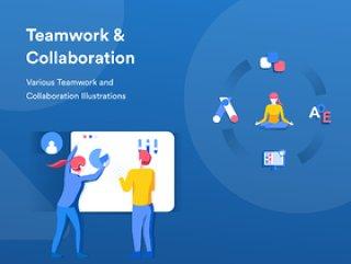 移动和桌面,团队合作和协作插图的团队合作和协作图包