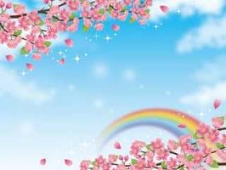 波光粼粼的天空和波光粼粼的风景与樱花分行03