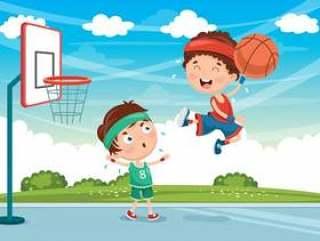 打篮球的孩子的例证