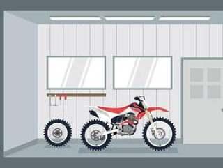 摩托车越野赛车库 矢量