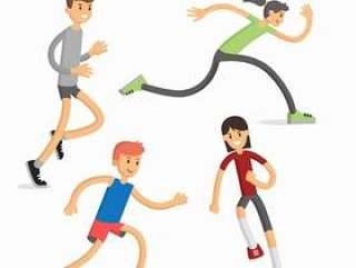 卡通跑步人物