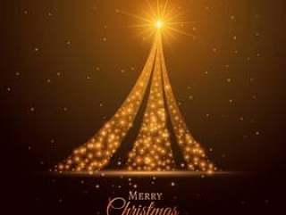 金色闪光圣诞树设计背景