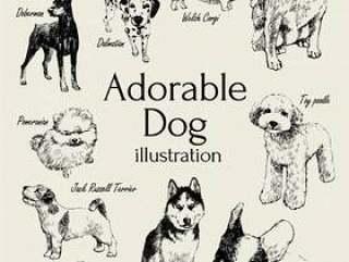 可爱的小狗插图
