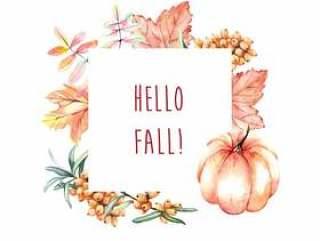 水彩秋天框架用南瓜和叶子