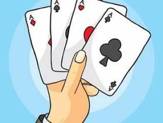 有纸牌传染媒介的手