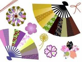 日本涩日本模式图标折扇