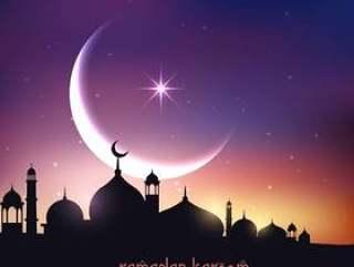 在与新月形月亮和星星的夜空中的清真寺剪影