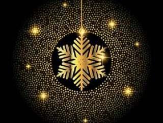 金色圣诞雪花背景