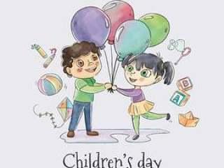 可爱儿童与儿童气球跳舞' s天矢量