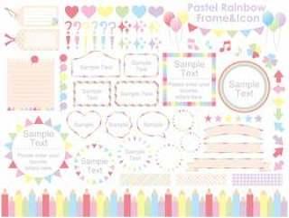 柔和的彩虹框架&图标集