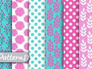 粉红色和蓝色的花卉图案集