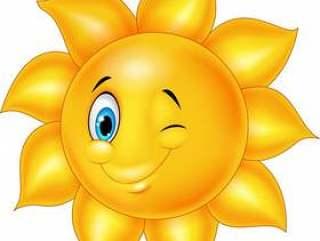 与眼睛眨眼睛的动画片太阳
