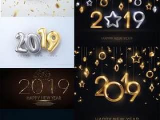 12款新年2019年年会中式气球数字插画AI矢量分层素材